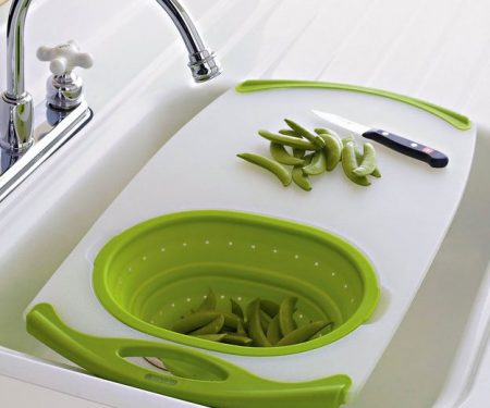 Over The Sink Cutting Board + Strainer